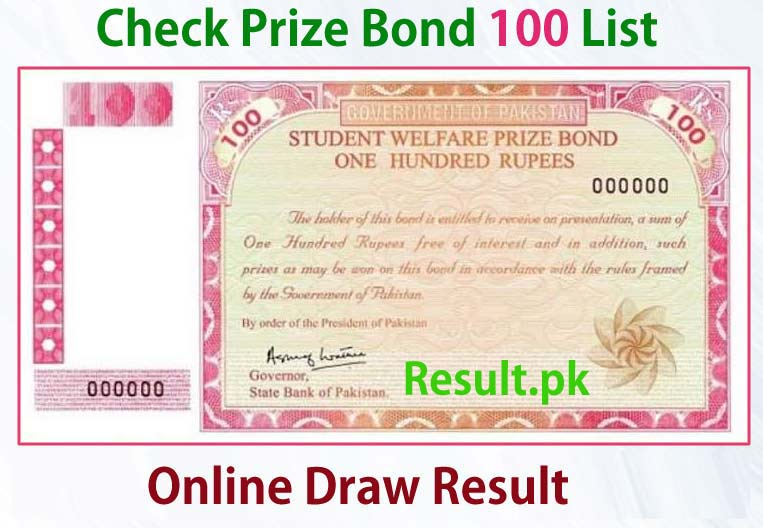 100 Prize Bond List Karachi Draw 1 15 February 2013