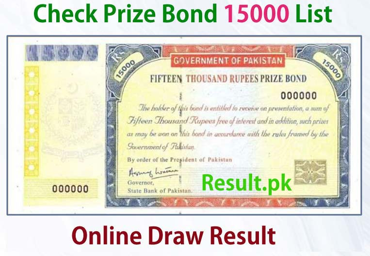 15000 Prize Bond List Peshawar Draw 76 01 October 2018