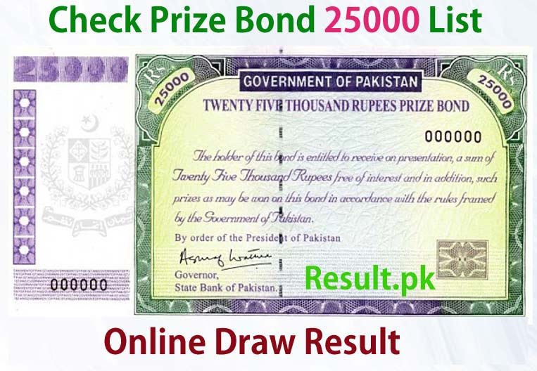 25000 Prize Bond List Rawalpindi Draw 30 01 August 2019
